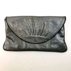 Lauren Merkin Silver Metallic Leather Clutch Bag